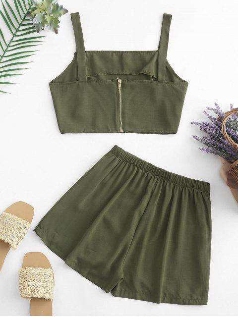 affordable Buttons Crop Top and Overlap Shorts Set - ARMY GREEN L Mobile