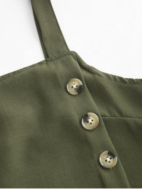 buy Buttons Crop Top and Overlap Shorts Set - ARMY GREEN S Mobile