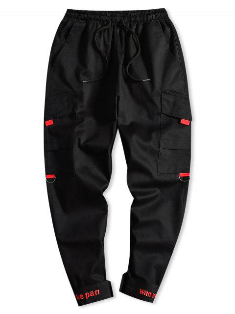 chic Letter Embroidery Side Asymmetric Pocket Drawstring Casual Pants - BLACK M Mobile