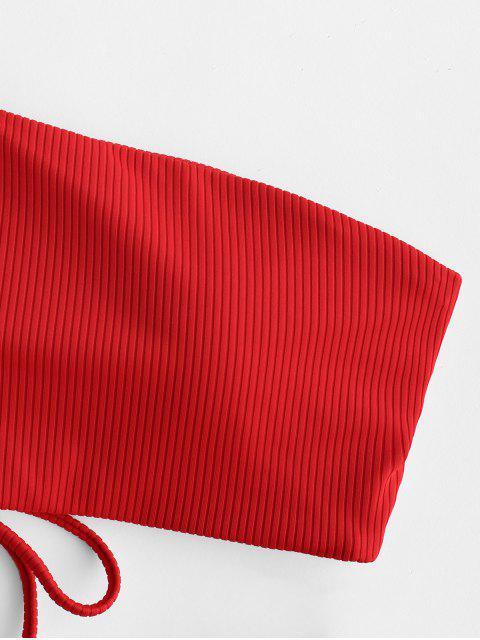 ZAFUL Maillot de Bain Bikini Côtelé à Une Épaule à Lacets - Rouge L Mobile