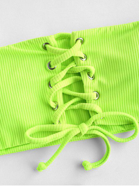 ZAFUL Maillot de Bain Bikini Bandeau Côtelé à Lacets - Vert Jaune M Mobile