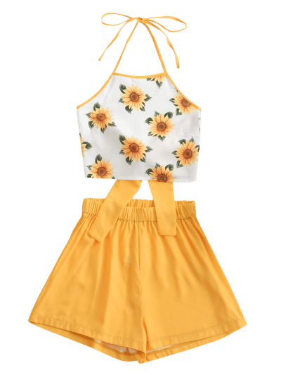 ZAFUL Halter Tied Back Sunflower Two Piece Set, Bee yellow