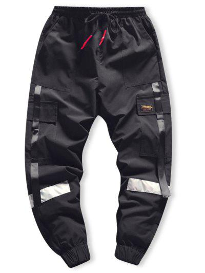 Side Flap Pocket Spliced Applique Cargo Jogger Pants - Black L