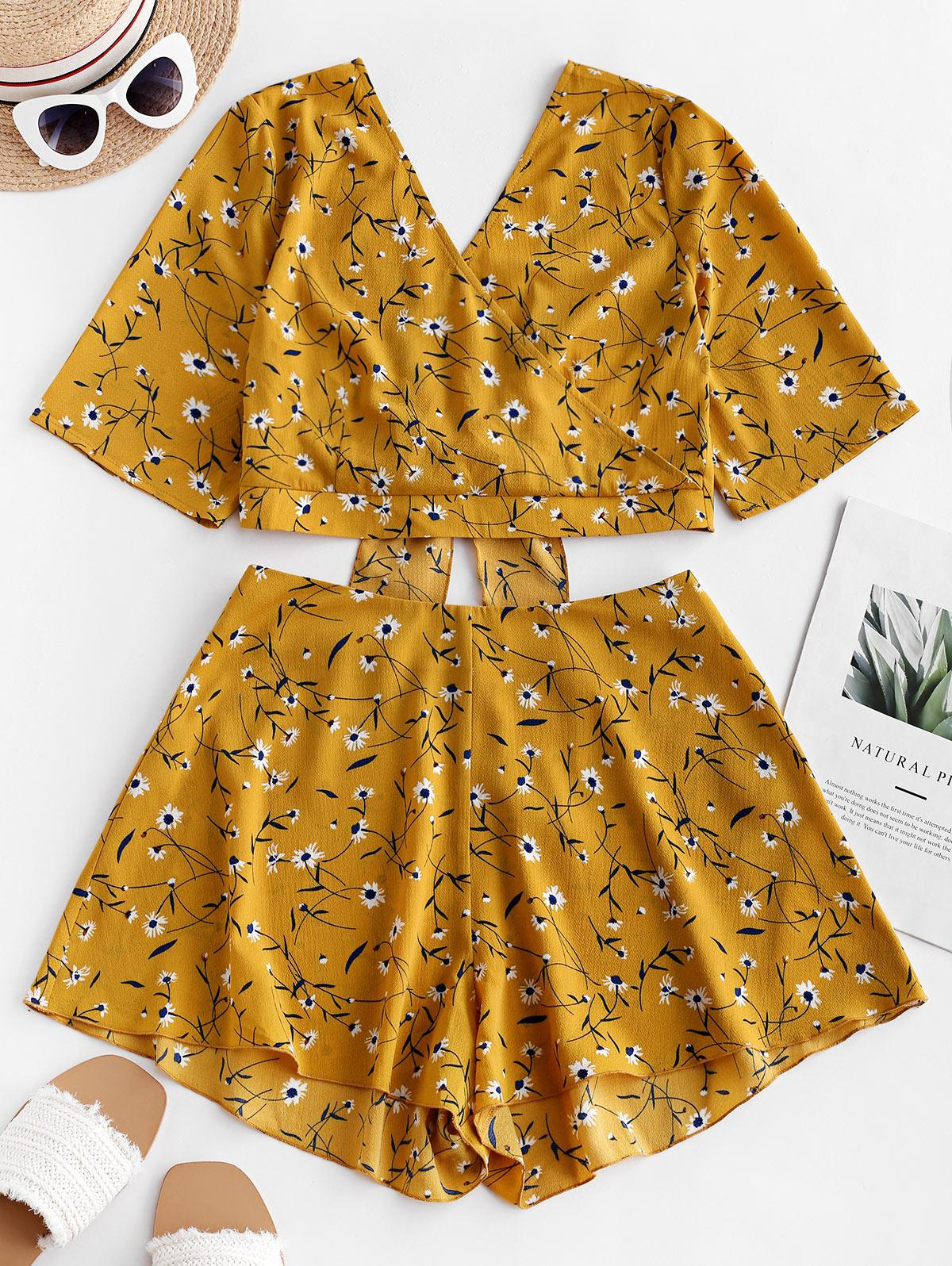 ZAFUL Knotted Surplice Ditsy Floral Two Piece Set, Bee yellow