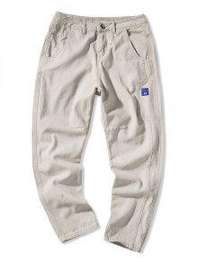 زين بلون السراويل متعددة جيب طباعة عادية - رمادي فاتح Xs