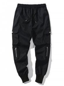 الصلبة اللون متعدد جيب الرباط عداء ببطء سروال - أسود M