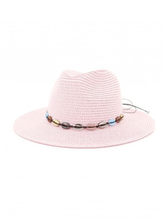 hot Beach Shell Rope Bowknot Straw Hat - HOT PINK