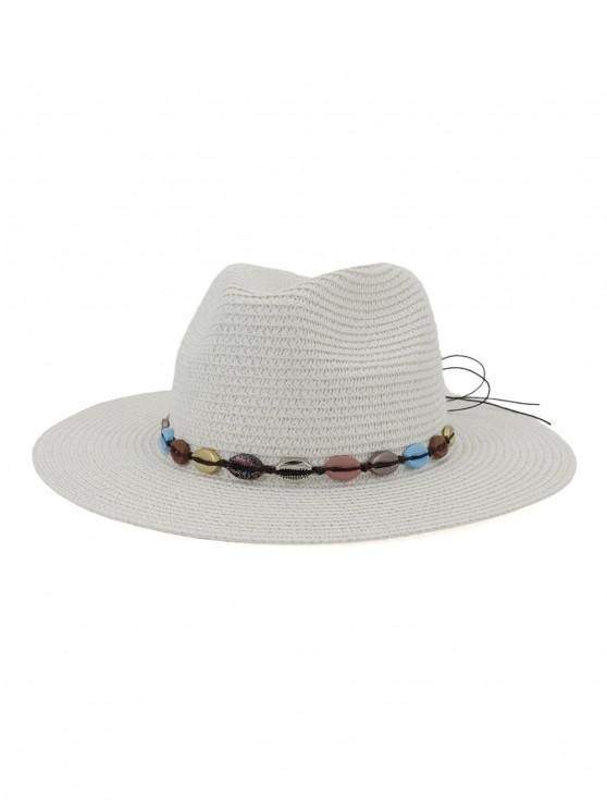 best Beach Shell Rope Bowknot Straw Hat - WHITE