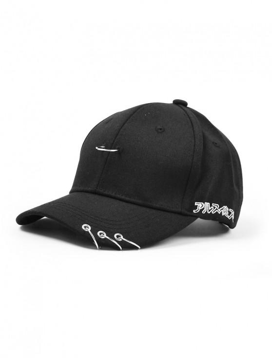 new Pin Hoop Embellished Baseball Cap - BLACK