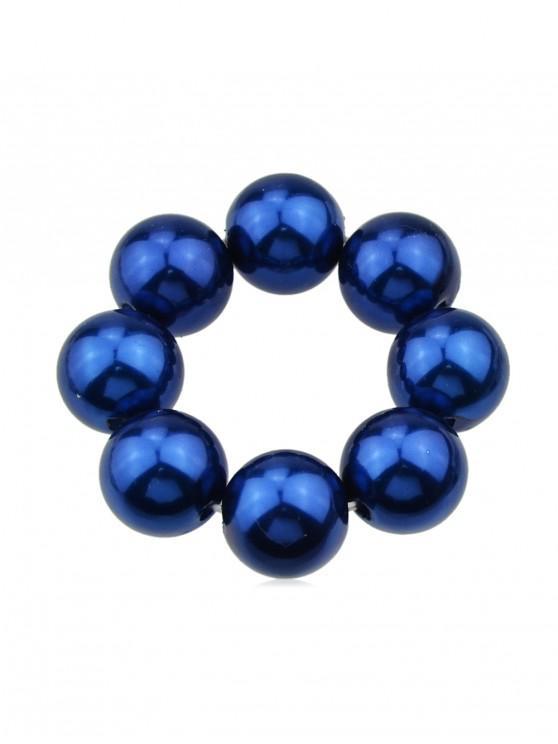 純色人造珍珠彈性髮帶束髮帶 - 藍色
