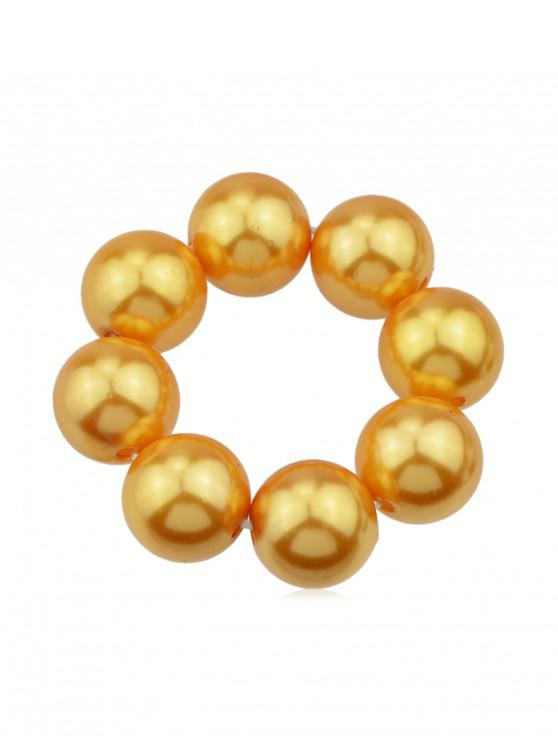 fashion Solid Color Faux Pearl Elastic Hair Band Scrunchies - GOLD
