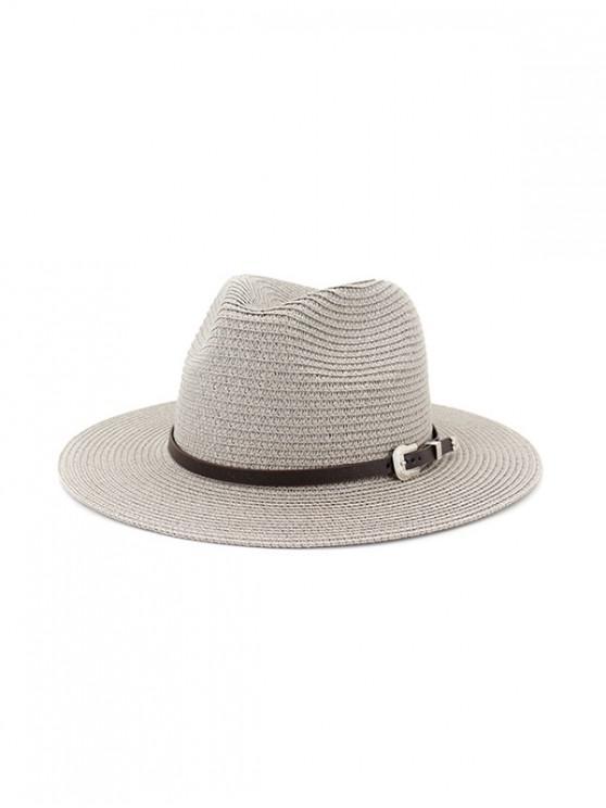 online Belt Embellished Straw Outdoor Jazz Beach Hat - GRAY