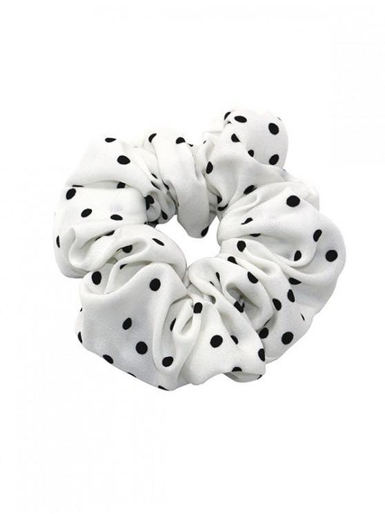 latest Polka Dot Print Elastic Hair Band Scrunchies - WHITE