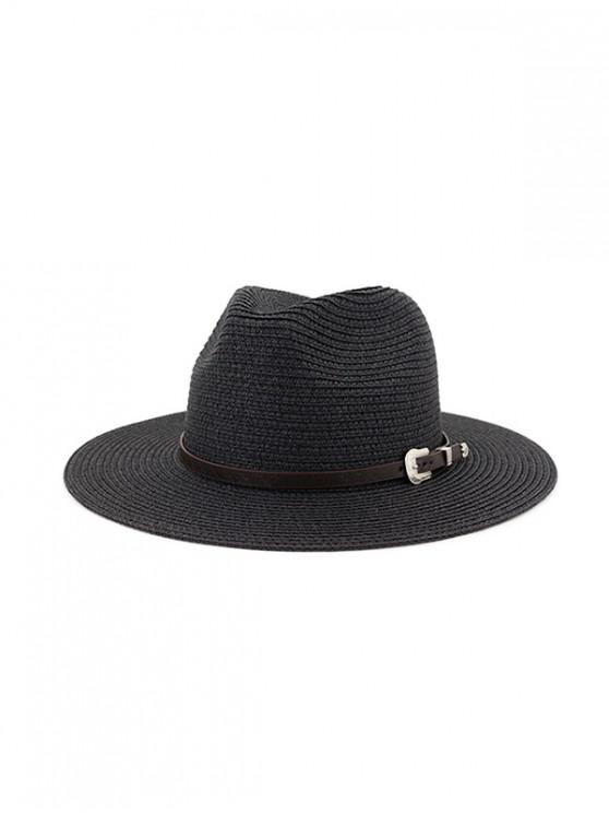 new Belt Embellished Straw Outdoor Jazz Beach Hat - BLACK
