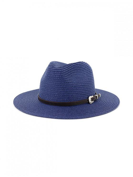 outfit Belt Embellished Straw Outdoor Jazz Beach Hat - CADETBLUE