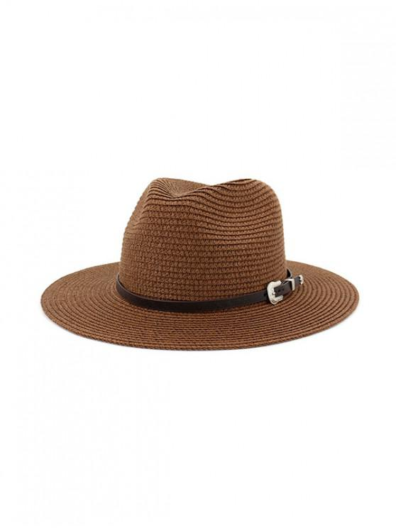 outfits Belt Embellished Straw Outdoor Jazz Beach Hat - COFFEE