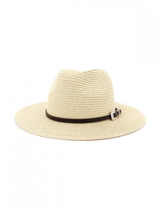 حزام منمق سترو في الهواء الطلق الجاز قبعة الشاطئ - اللون البيج