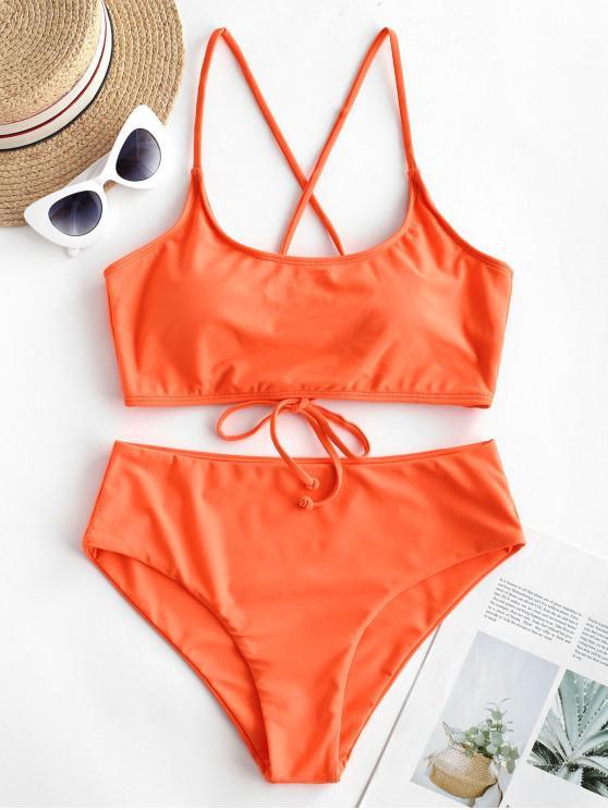 affordable ZAFUL Lace Up Padded High Waisted Bikini Swimsuit - ORANGE M