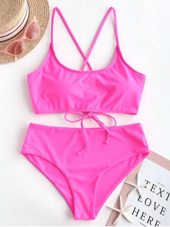 women ZAFUL Lace Up Padded High Waisted Bikini Swimsuit - NEON PINK 2XL