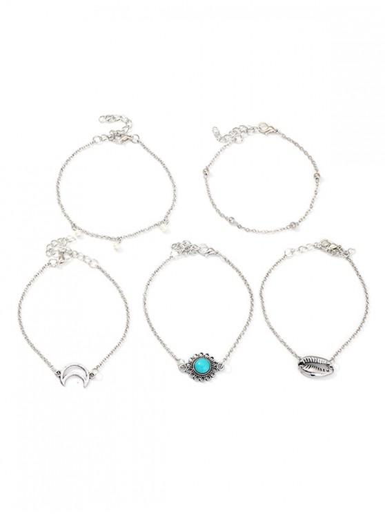 best 5Pcs Moon Shell Turquoise Bracelet Set - SILVER