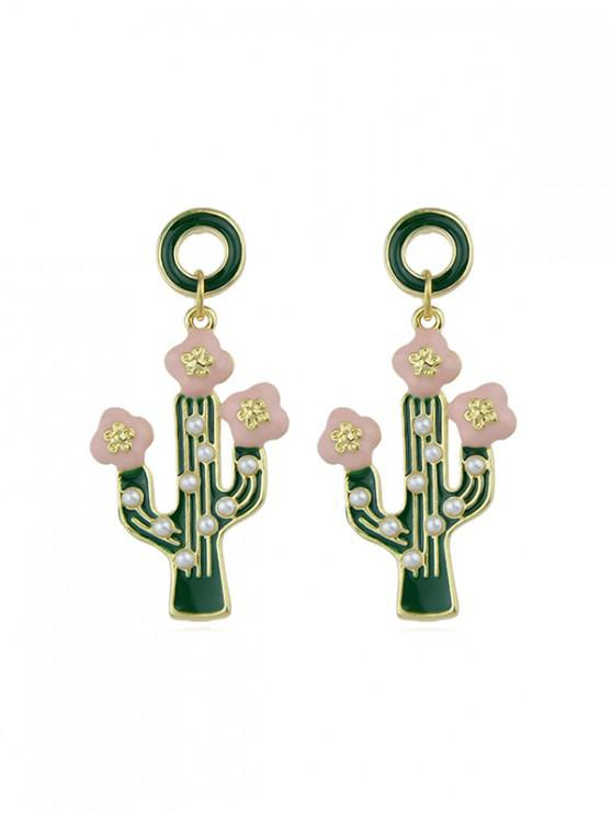 ladies Faux Pearl Cactus Drop Earrings - GOLD
