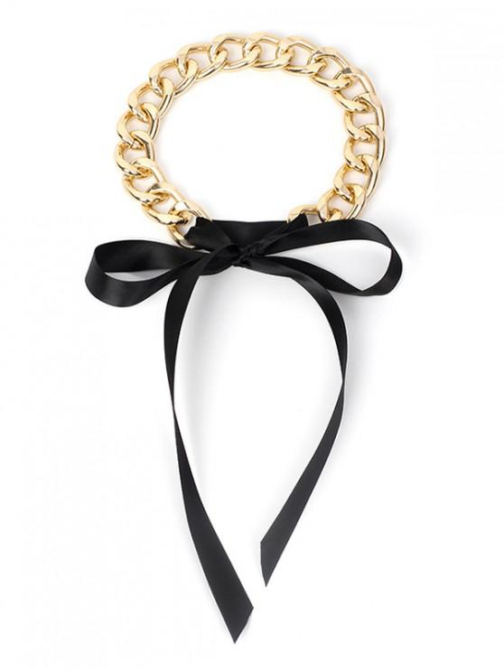 buy Ribbon Bow Chain Choker Necklace - BLACK