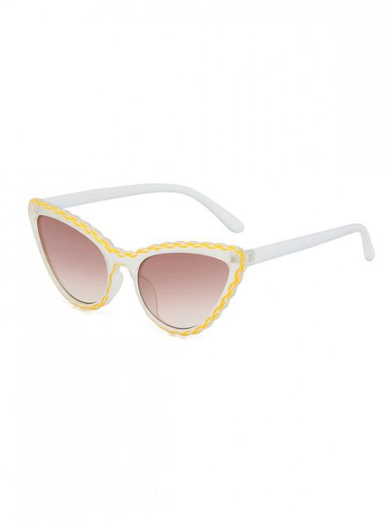 women's Wavy Rim Butterfly Shape Stylish Sunglasses - BEE YELLOW