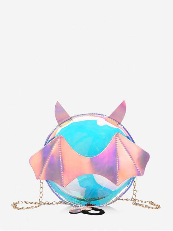 affordable PVC Batwing Chain Small Round Bag - PINK