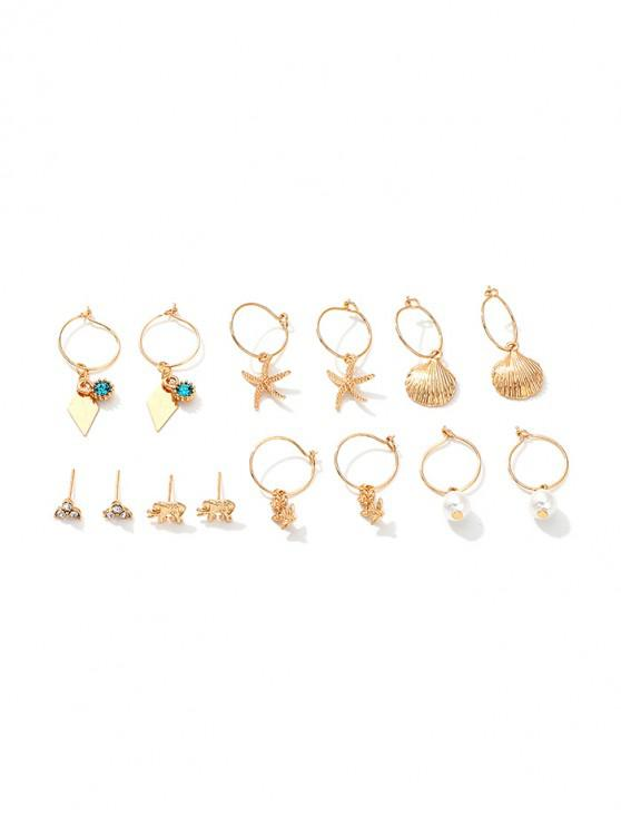 buy 7Pairs Shell Starfish Floral Earrings Set - GOLD