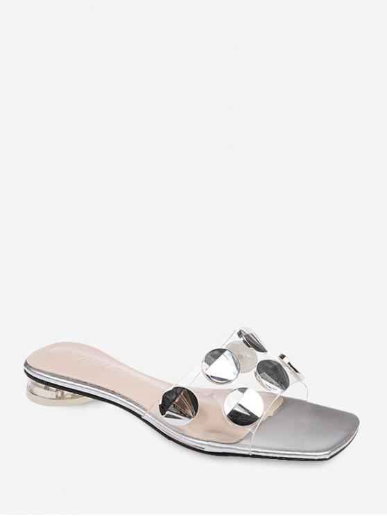 affordable Round Disc Decoration Slippers - SILVER EU 36