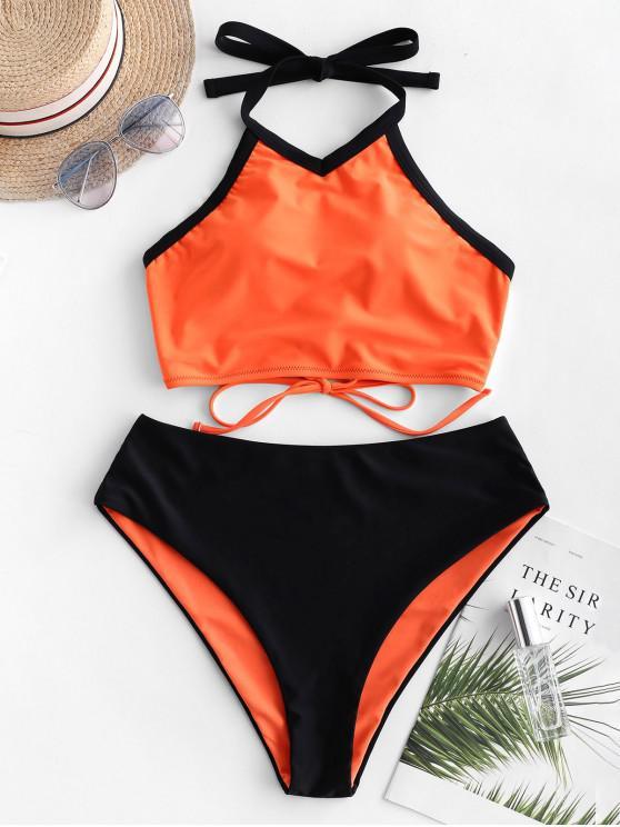 women ZAFUL Contrast Piping Lace-up Reversible Tankini Swimsuit - HALLOWEEN ORANGE XL