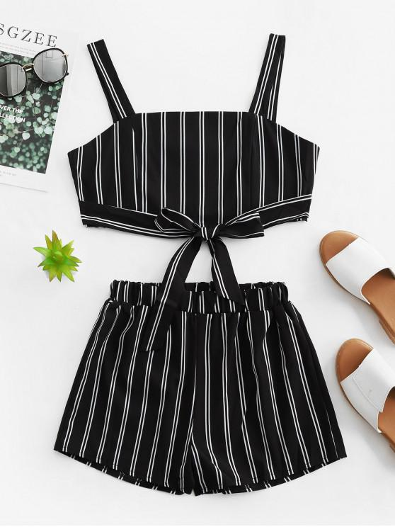 fancy Knotted Stripes Cropped Top And Shorts Set - BLACK L