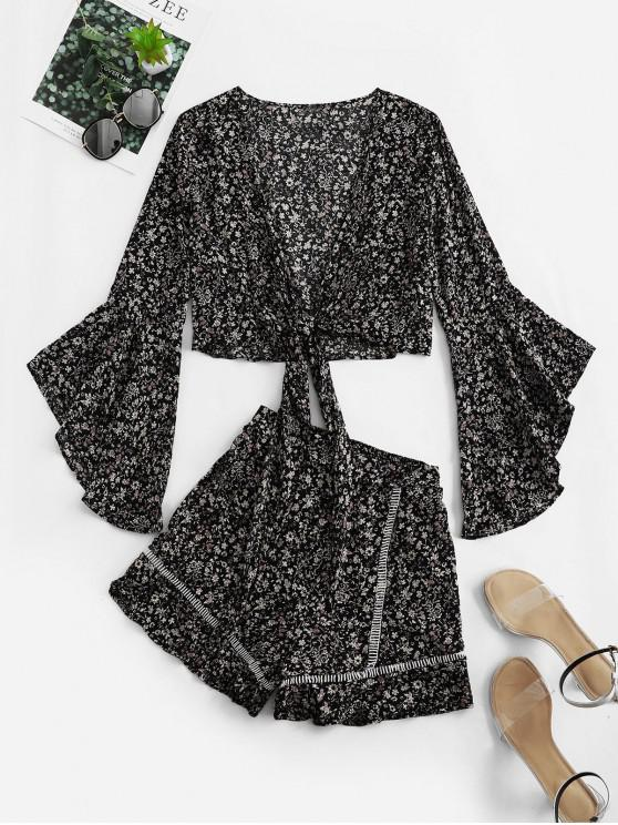 new Flare Sleeve Knotted Floral Blouse and Flounce Shorts Set - BLACK S