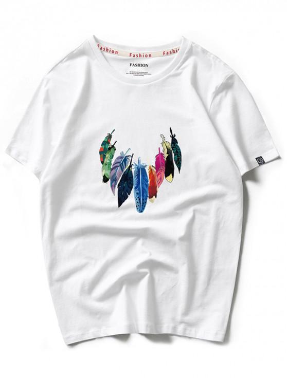 Impresión colorida de la pintura de la pluma camiseta con cuello redondo - Blanco M