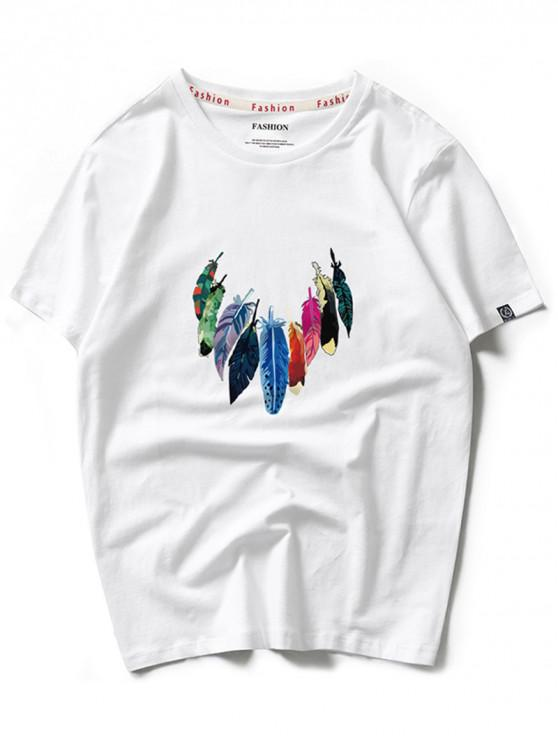 Impresión colorida de la pintura de la pluma camiseta con cuello redondo - Blanco XL
