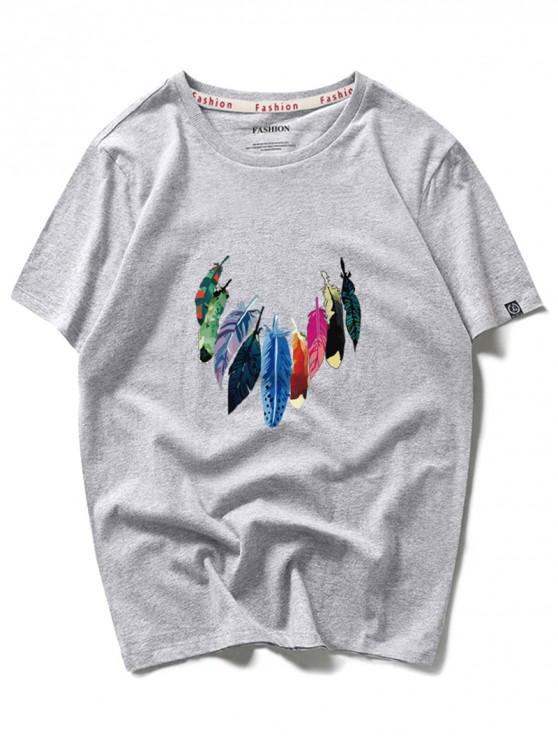 Impresión colorida de la pintura de la pluma camiseta con cuello redondo - Nube Gris L