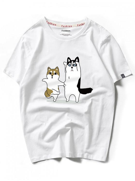Camiseta casual con estampado de dibujos animados de Dancing Husky - Blanco XS