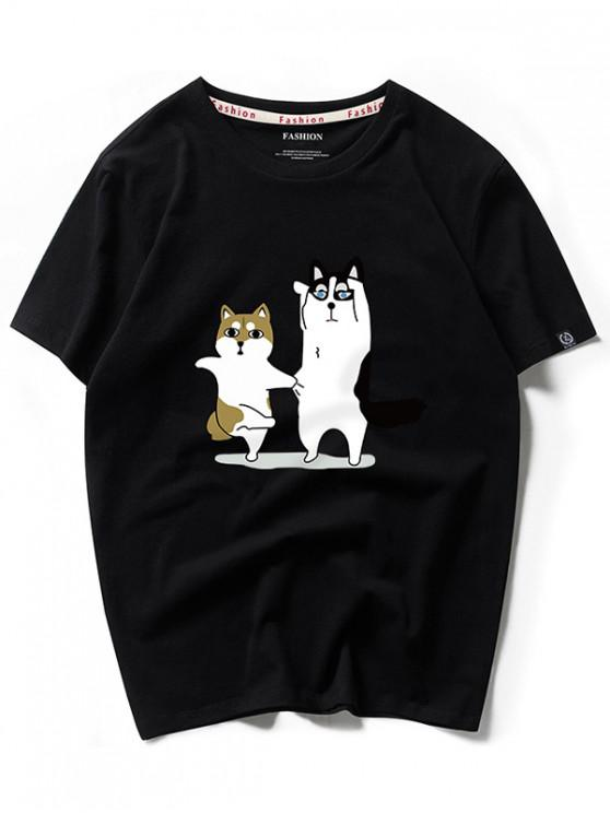 lady Dancing Husky Cartoon Print Casual T-shirt - BLACK M