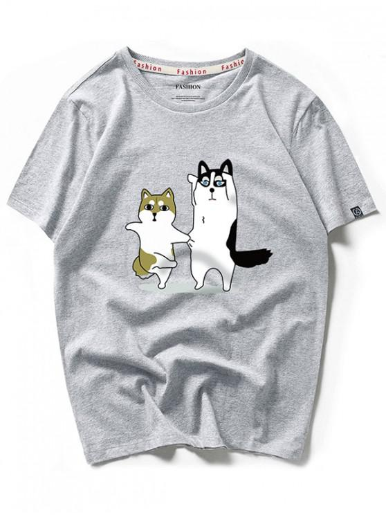 Camiseta casual con estampado de dibujos animados de Dancing Husky - Nube Gris XS