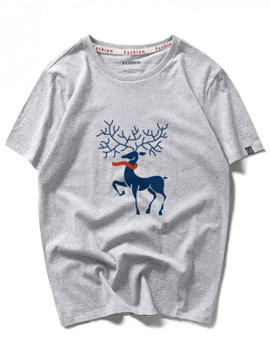 Bufanda de ciervo estampado gráfico de manga corta camiseta - Nube Gris 2XL