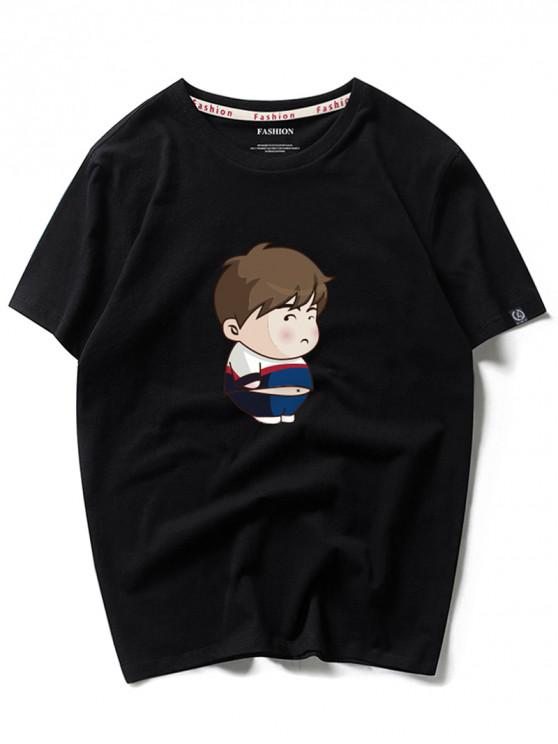 unique Cartoon Boy Print Short Sleeves T-shirt - BLACK M
