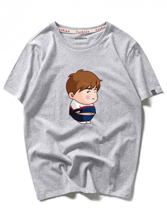 T-shirt de mangas curtas de impressão menino dos desenhos animados - Nuvem Cinzento 2XL