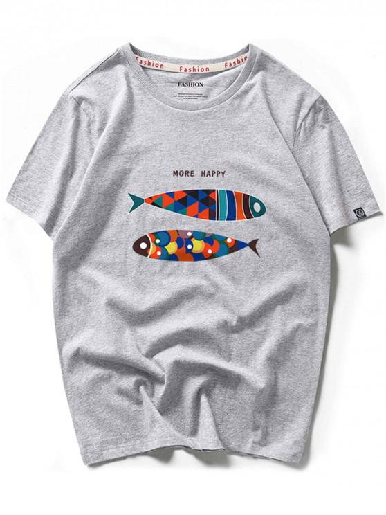 sale More Happy Colorful Fish Graphic Short Sleeves T-shirt - GRAY CLOUD S