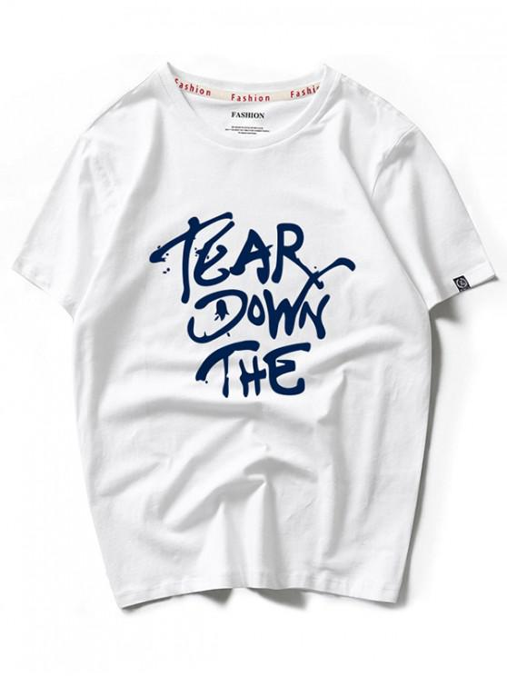 Camiseta de manga corta con estampado gráfico y carta impresa de Tear Down - Blanco 2XL