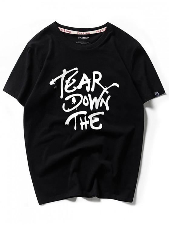 Camiseta de manga corta con estampado gráfico y carta impresa de Tear Down - Negro L