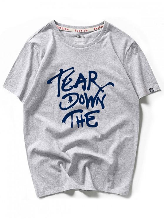 Camiseta de manga corta con estampado gráfico y carta impresa de Tear Down - Nube Gris 2XL