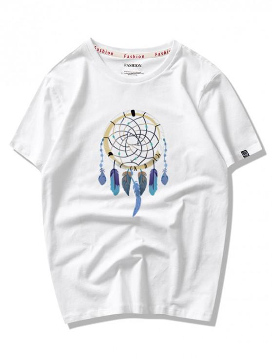 sale Dreamcatcher Graphic Print Short Sleeves T-shirt - MILK WHITE L