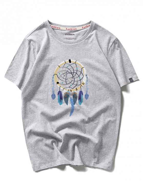 outfit Dreamcatcher Graphic Print Short Sleeves T-shirt - GRAY CLOUD L