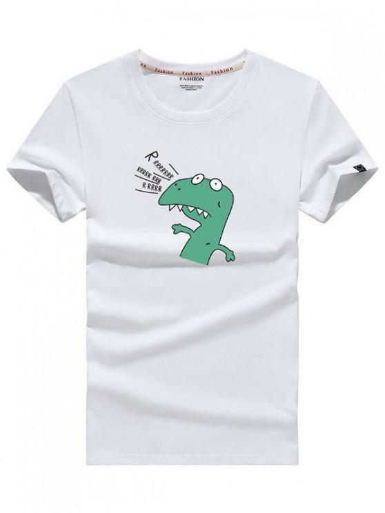 Camiseta de manga corta con estampado de dinosaurios y dibujos animados - Blanco 2XL
