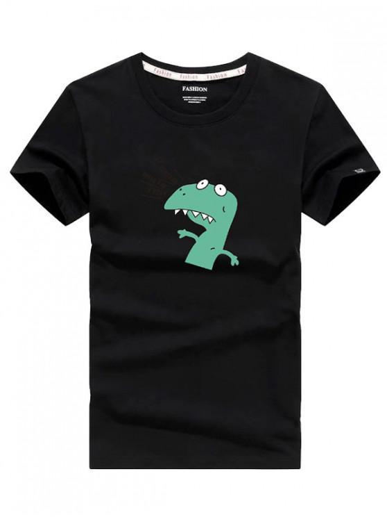 Camiseta de manga corta con estampado de dinosaurios y dibujos animados - Negro XS